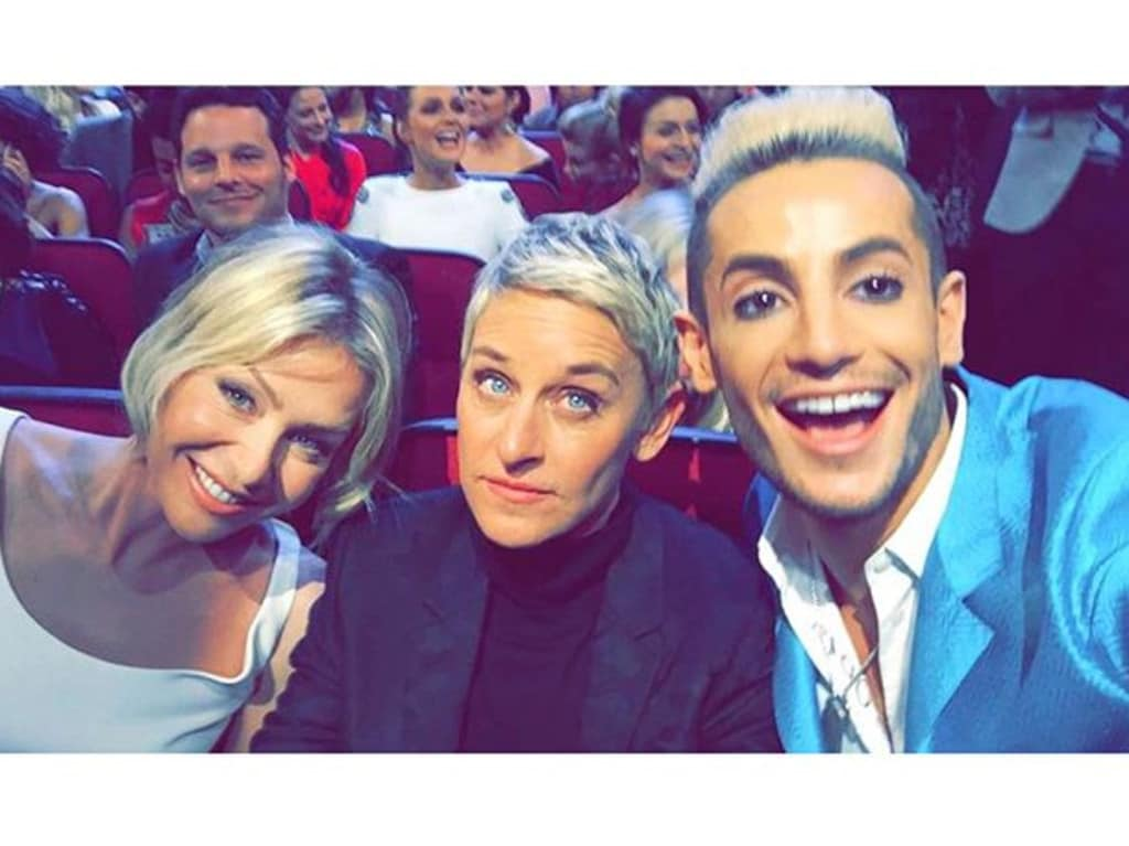 """Frankie Grande is in awe! """" I can't believe I'm with these iconic women! #peopleschoiceawards"""" Picture: Instagram"""