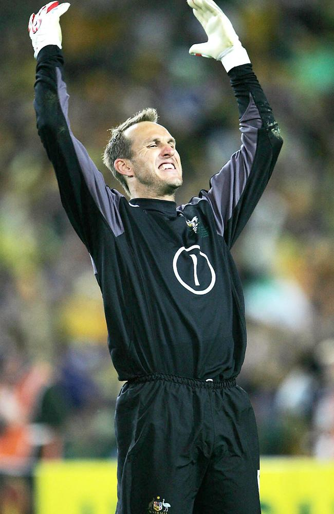 Socceroos goalkeeper Mark Schwarzer celebrates after making his first of two saves during the penalty shootout against Uruguay.