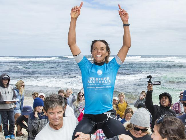 Sally Fitzgibbons won the women's event in quality waves. Picture: WSL