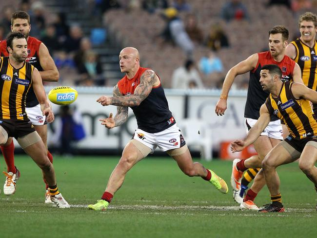 Melbourne's Nathan Jones in action against Hawthorn. Pic: George Salpigtidis