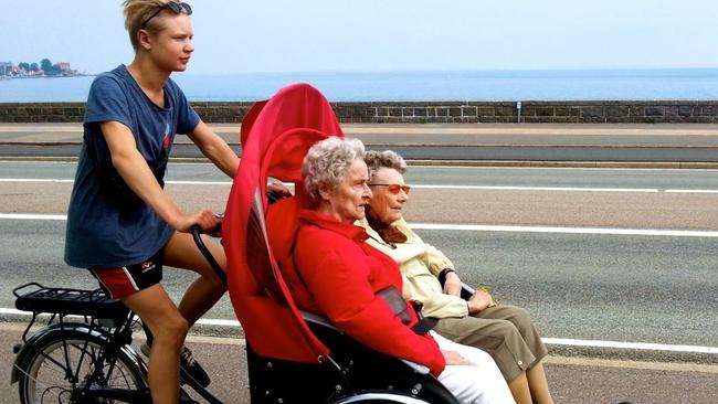 These Danish nannas are loving this bike thing. Particularly as they don't have to peddle.