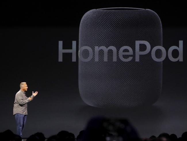 Apple's Senior Vice President of Worldwide Marketing Phil Schiller introduces the HomePod. Picture: Justin Sullivan/Getty Images