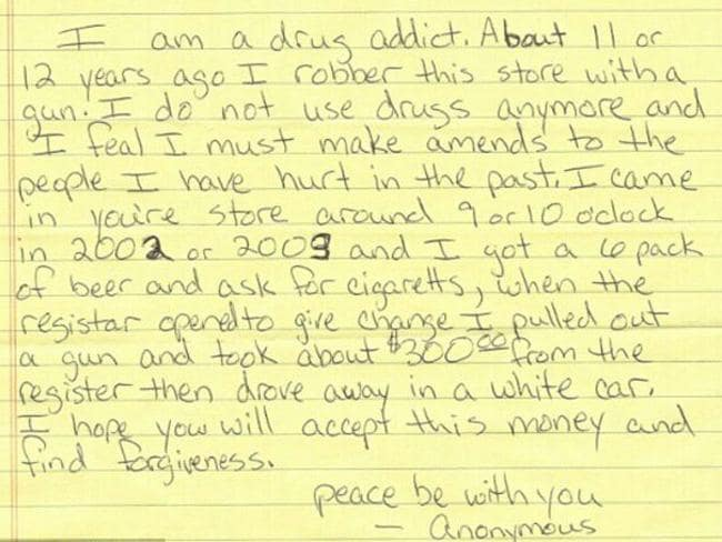 The robber's full apology note.