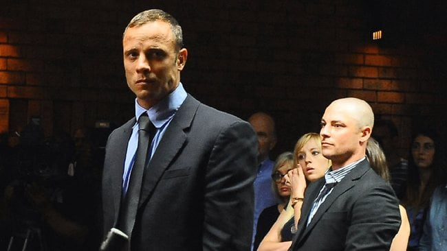 Olympian Oscar Pistorius,with his brother, Carl, behind.