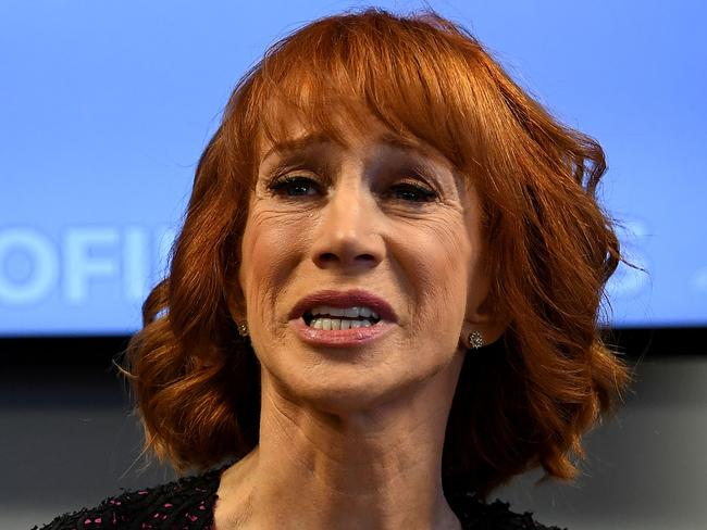 "Kathy Griffin during a tearful press conference in June. She said the Trump family were trying to ""ruin"" her life. Picture: AFP/Mark Ralston"
