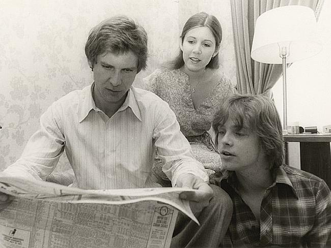 Young and famous. Carrie Fisher, Harrison Ford and Mark Hamill on the set of a Star Wars film. Photo from Carrie Fisher's personal collection.