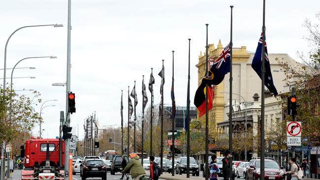 Flags flown at half mast on Grote Street, Adelaide as the nation mourns MH17 victims. Pic. Noelle Bobrige