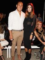 Geoff Huegill and Sara Hills attend the Mercedes-Benz Presents Ellery show at Mercedes-Benz Fashion Week Australia 2015 at Carriageworks on April 12, 2015 in Sydney, Australia. Picture: Getty