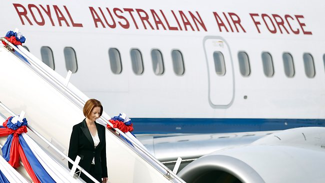 Prime Minister Julia Gillard arriving at Wattay International Airport in Vientiane, Laos, on Sunday. Picture: AP