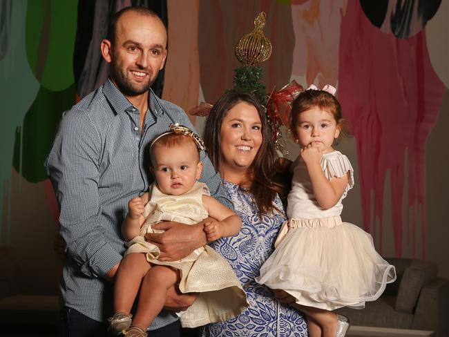 Nathan Lyon posing with (now former) partner Mel Waring and daughters Milla (left) and Harper in 2015. Picture: Michael Dodge/Getty Images