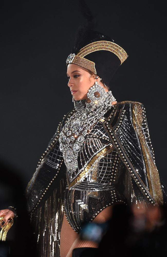 Bey's outfits were designed by Balmain. Picture: MEGA
