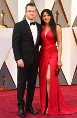 Matt Damon and Luciana Barroso attend the 88th Annual Academy Awards on February 28, 2016 in Hollywood, California. Picture: AP