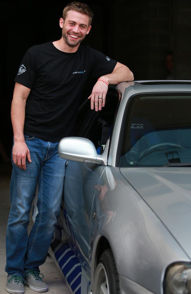 Cody Walker, brother of late actor Paul Walker, at a charity car show event at Eldorado Cinema in Indooroopilly yesterday to raise funds for his brother's charity Reach Out World Wide. Picture: Claudia Baxter