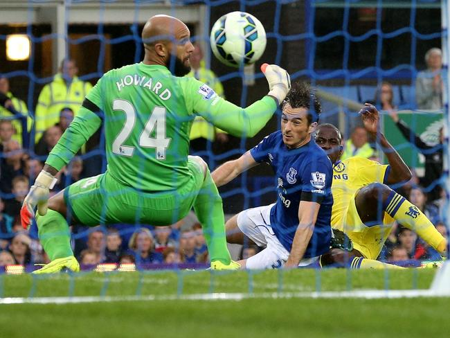 Everton goalkeeper Tim Howard is beaten by Ramires for Chelsea's fifth goal.