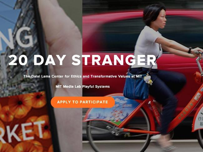 Sharing with a stranger ... the 20 day stranger app will help two anonymous strangers share their day - a project of MIT Media Lab's Playful Systems research group.