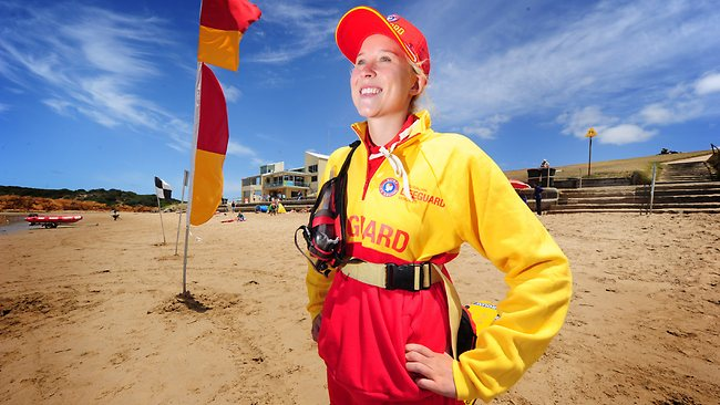 Lifesaver Rebecca Schot-Guppy, from Melbourne, is expecting an influx of people hoping to cool down at Torquay main beach in the coming days. Picture: Mitch Bear