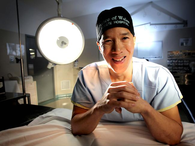Neurosurgeon Dr Charlie Teo in theatre at Prince of Wales Private Hospital, Randwick in Sydney.
