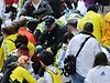 Medical workers aid injured people at the finish line of the 2013 Boston Marathon following two deadly explosions.