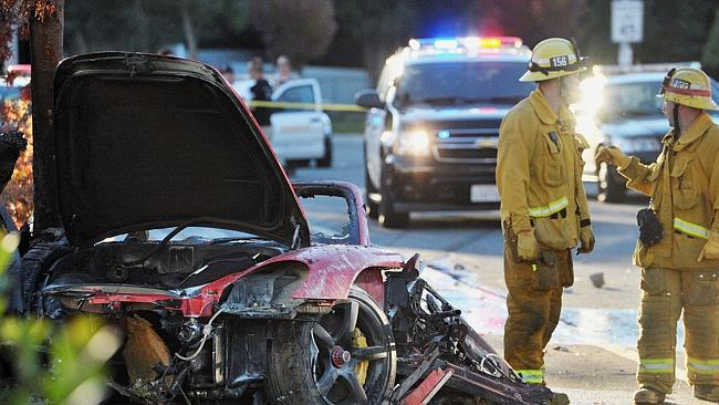 The wreckage of the car crash that killed actor Paul Walker and his friend who was driving.