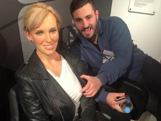 Sacked SA Best candidate Rhys Adams pretending to grope a wax model of Toni Collette at Madam Tussauds in Sydney