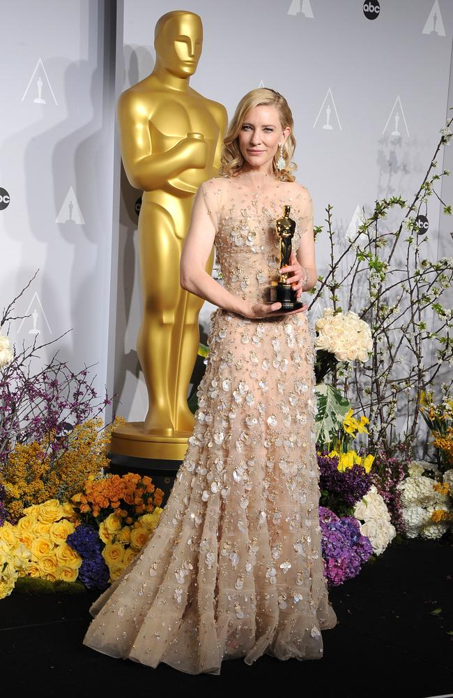Cate Blanchett took out not only Best Actress at the 2014 Oscars but also the prize for most expensive outfit. The stunning Armani Prive gown was worth $100,000 and Chopard jewellery a cool $US18million. Picture: Getty