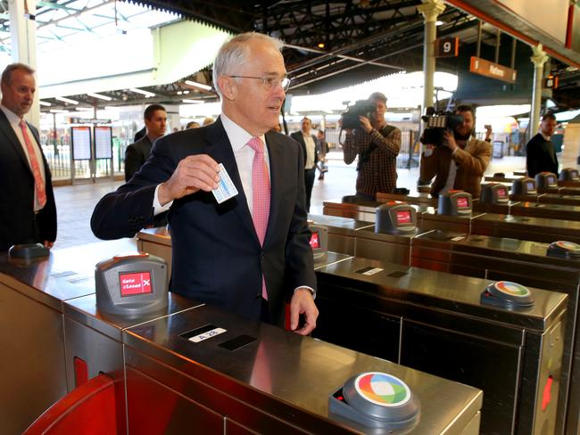 Malcolm Turnbull said catching public transport helps him stay in touch with the public. Picture: Stephen Cooper