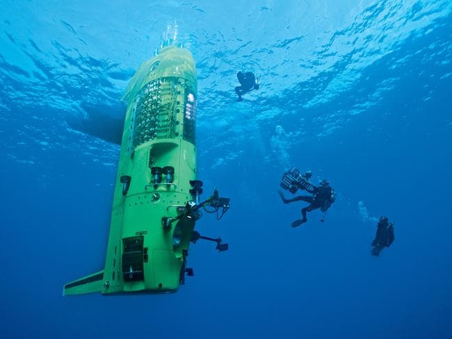 Cameron's Deepsea Challenger was designed to descend faster than more rotund submersibles. Picture courtesy National Geographic