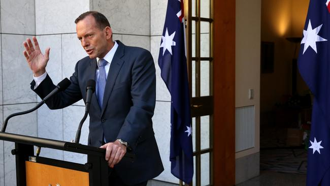 One-term wonder ... PM Tony Abbott asked by Karl Stefanovic whether he's worried about being in government for only one term. Picture: Ray Strange/News Corp.