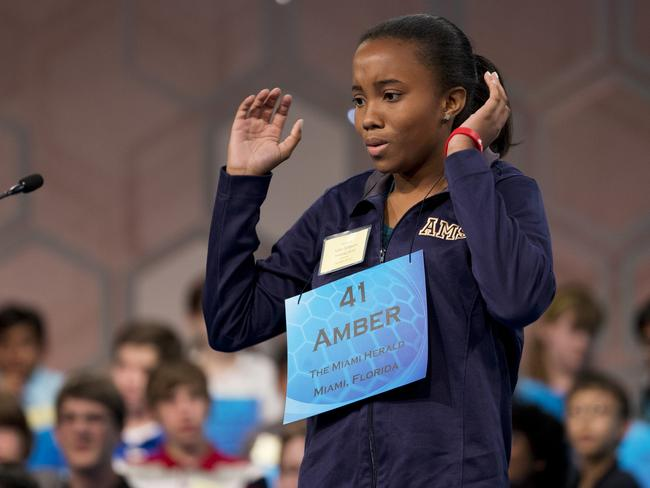 "Eighth grade student Amber Robinson must have desperately wanted to absquatulate after spelling the word ""pelagial"" wrong. She put an ""o"" where the ""e"" should have been. Pic: AP Photo/Manuel Balce Ceneta."