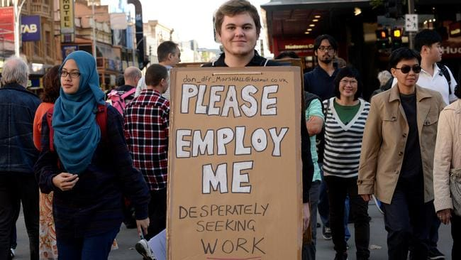 Daniel Marshall ... seeking work in Rundle Mall. Picture: Dave Cronin