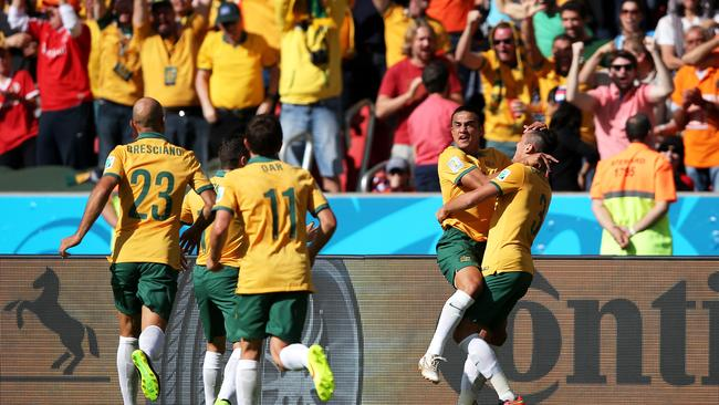 Tim Cahill celebrates his wonder goal.