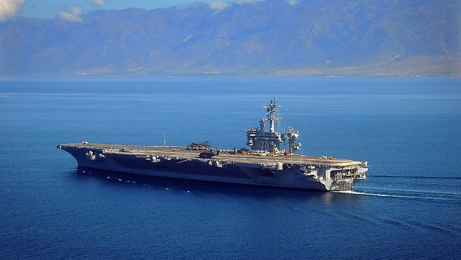 Osama bin Laden's body was put aboard the USS Carl Vinson and then placed into the North Arabian Sea for burial. (AP Photo/U.S. Navy, Daniel Barker)