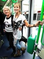 <p>Ruby Rose had a pop up fashion show on a tram for the Melbourne Fashion Week. Ruby with her grandmother Deidre Langenheim. Picture: Ellen Smith</p>
