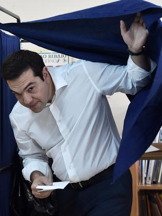 Greek Prime Minister Alexis Tsipras after voting. Picture: Aris Messinis