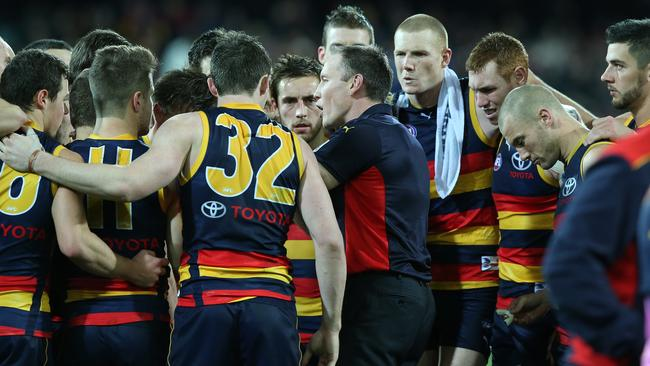 Brenton Sanderson addresses his players during the game against Hawthorn. Picture: Sarah Reed