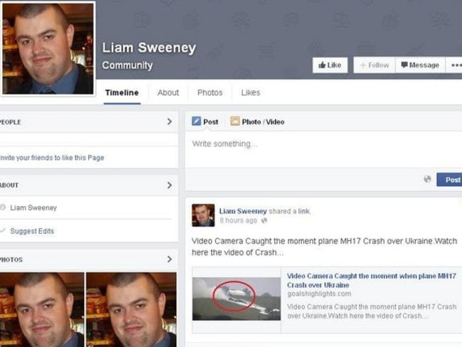 A fake Facebook page set up in the name of one of MH17's victims.