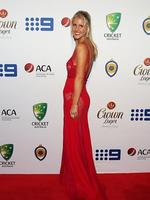 Anna Weatherlake partner of Peter Siddle on the red carpet of the 2014 Allan Border medal. Pic Brett Costello