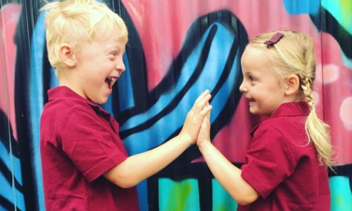 This mum had ALL of the emotions on her twins' first day of school