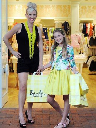 Mix 102.3 'Fun Breakfast' show co-host Jodie Oddy loves to go shopping at Bardot Junior, in Burnside Village, with her daughter Taylor, 11. Picture: Brenton Edwards