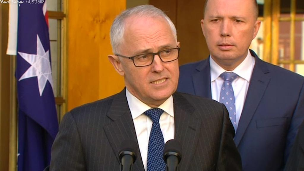 Prime Minister Malcolm Turnbull announcing the creation of an Office of National Intelligence and a super-ministry Home Affairs portfolio.