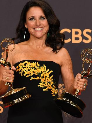 Julia Louis-Dreyfus as she poses at the Emmys. Picture: AFP