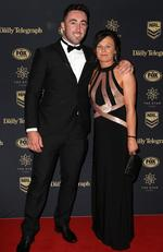 Brock Lamb and his mum Fiona Worth at the 2017 Dally M Awards held at The Star in Pyrmont. Picture: Christian Gilles