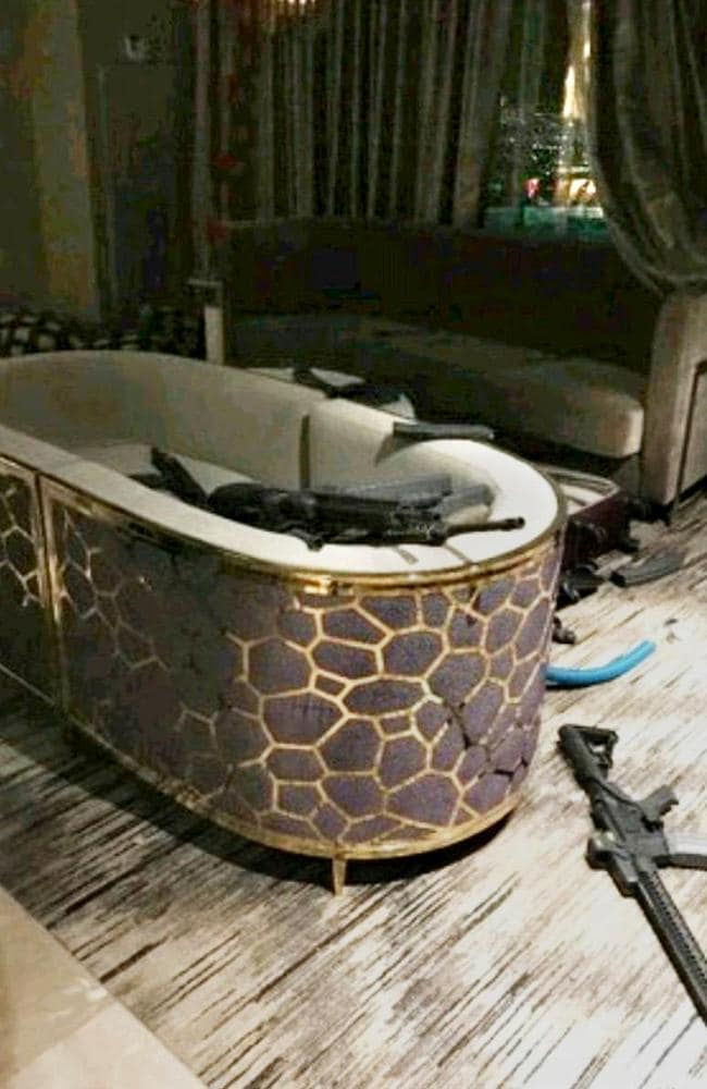 Inside Stephen Paddock's room at the Mandalay Bay hotel. Picture: Supplied
