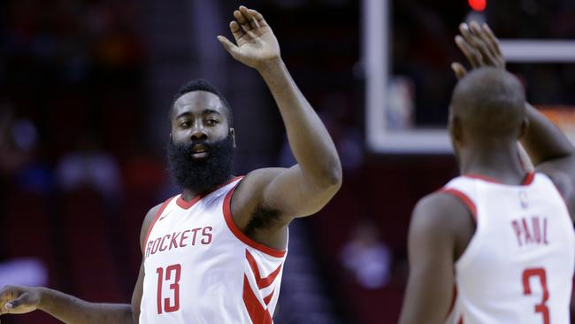 James Harden has a new running mate in star point guard Chris Paul. Picture: AP