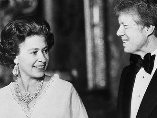 Queen with US Presidents: President Jimmy Carter with Queen Elizabeth II at Buckingham Palace, 1977.