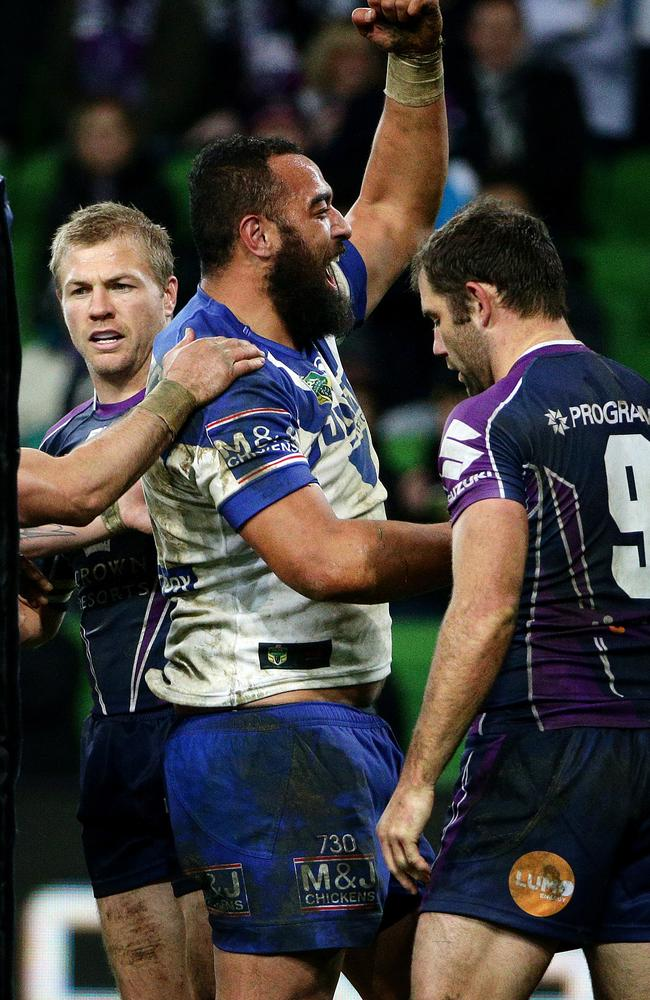 Sam Kasiano celebrates his try against the Storm. Pic: Colleen Petch