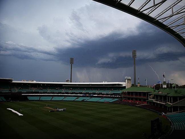 Lightning strikes as the storm rolls in over the Sydney Cricket Ground. Picture: Tim Hunt