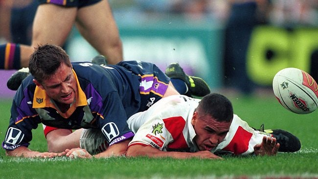 Another moment of sublime skill from Mundine, as he elegantly fails to score a try in the 1999 NRL grand final. Picture: Trent Parke
