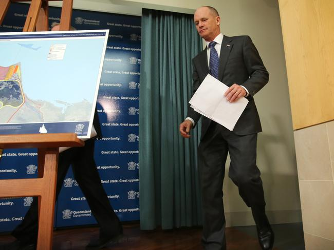 Premier Campbell Newman has promised to help fund rail link to Carmichael mine. Pic Jono Searle.