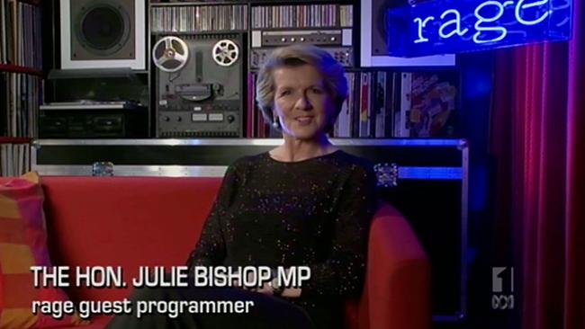 Opposition Deputy Leader, Julie Bishop on the Rage set.